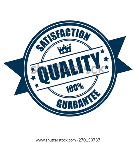 Blue Quality Satisfaction 100% Guarantee Ribbon, Badge, Banner, Sign, Tag, Label, Sticker or Icon Isolated on White Background - stock photo