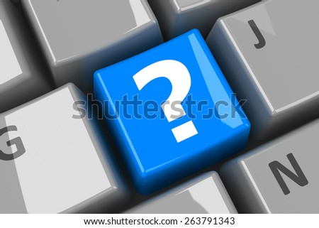 Blue question key on the computer keyboard, three-dimensional rendering - stock photo