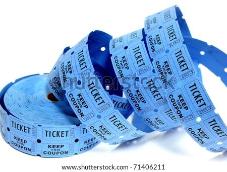 Blue Raffle Tickets - stock photo