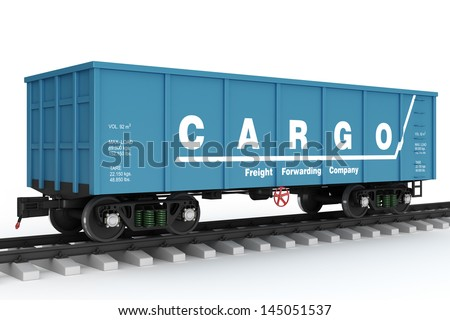 Blue Rail wagon. - stock photo