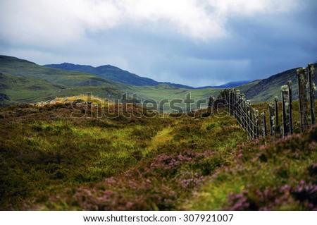 blue, rain sky in the mountain. Landscape, panorama of Scotland - stock photo