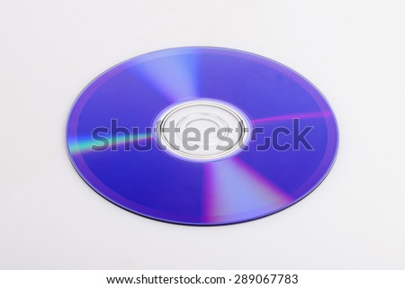 Blue ray CD surface isolated white at the studio. - stock photo