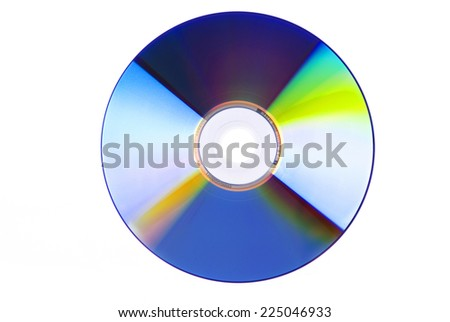 Blue-ray, DVD or CD disc.Isolated on white background - stock photo