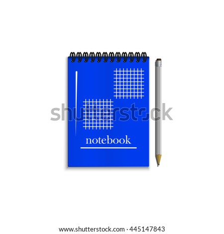 Blue realistic spiral notebook with grey pencil isolated on white background. - stock photo