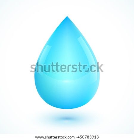 Blue realistic water drop isolated on white background - stock photo