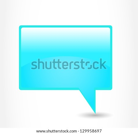 Blue rectangular glossy dialog cloud on a grey background - stock photo