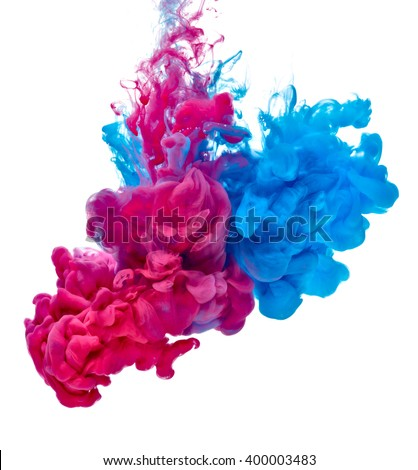 blue red paint in water - stock photo