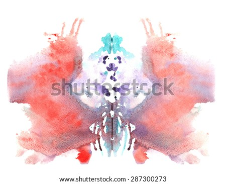 blue red watercolor symmetrical Rorschach blot on a white background - stock photo