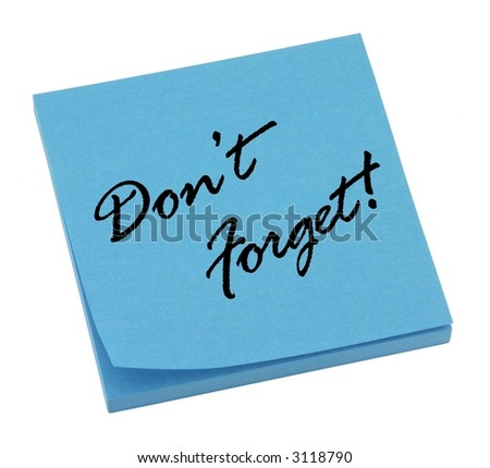 Blue reminder memo isolated on white. - stock photo