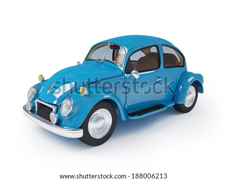 Blue retro car from forties on a white background - stock photo