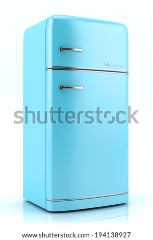 Blue retro refrigerator isolated on white background - stock photo