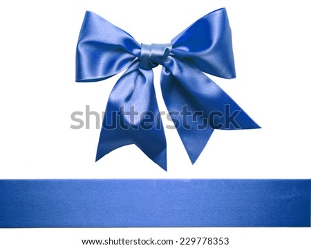 Blue Ribbon Bow isolated on White Background - stock photo