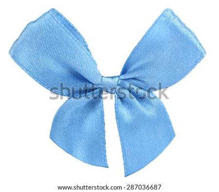 Blue ribbon bow tie - stock photo