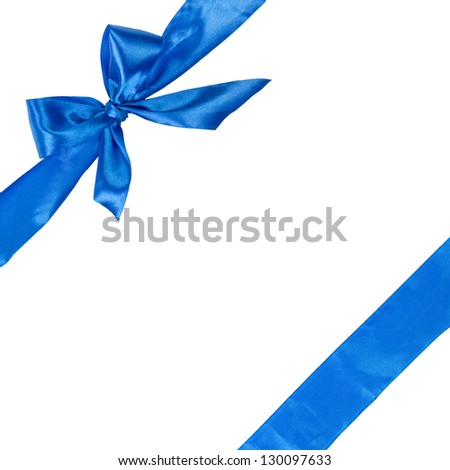 blue ribbon with bow, square composition isolated on white background - stock photo
