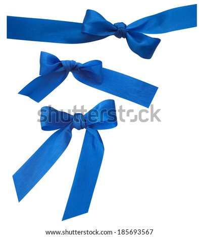 blue ribbons on the white background - stock photo