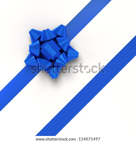 Blue ribbons with bow for gift wrapping on white background - stock photo