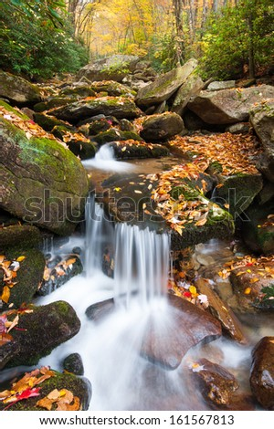 Blue Ridge Mountain Autumn Stream Cascade - stock photo