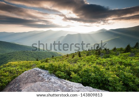 Blue Ridge Mountain Sunset Light Lush Green Summer Scenic - stock photo