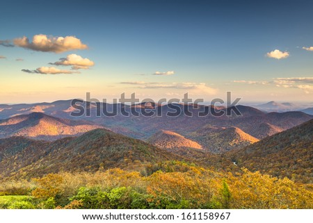 Blue Ridge Mountains at dusk in north Georgia, USA. - stock photo
