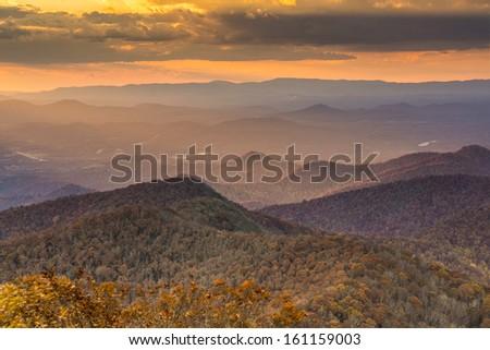 Blue Ridge Mountains at dusk in north Georgia, USA. - stock photo