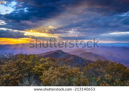 Blue Ridge Mountains in North Georgia, USA in the autumn season at sunset. - stock photo