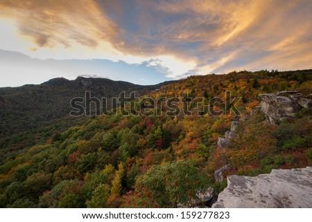 Blue Ridge Mountains sunset at the Rough Ridge Overlook off the Blue Ridge Parkway near Blowing Rock North Carolina - stock photo