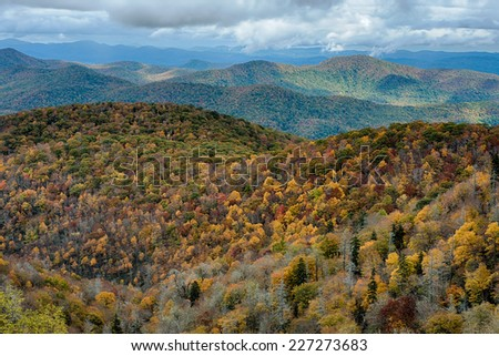 Blue Ridge Mountains viewed from the Blue Ridge Parkway just north of Graveyard Fields near East Fork, North Carolina  - stock photo