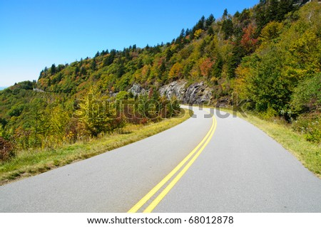 Blue Ridge Parkway road - stock photo