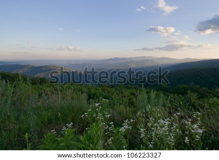 Blue Ridge view from Skyline Drive, Shenandoah National Park, Virginia - stock photo