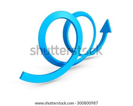 Blue Rising Up Loop Arrow. 3d Render Illustration - stock photo