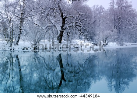 blue river in winter time - stock photo