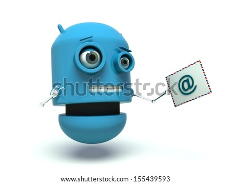 Blue robot holding an envelope isolated on white background. Illustration symbolizing mail delivery. 3D render.  - stock photo