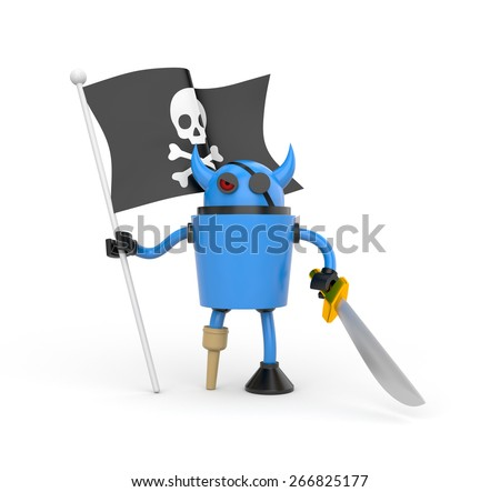 Blue robot pirate with a wooden leg, sword and a flag with Jolly Roger - stock photo