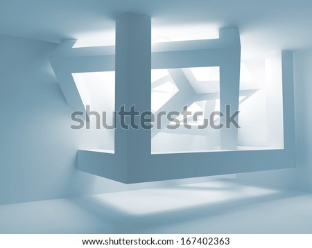 Blue room interior with abstract construction of cubes in the corner. 3d illustration - stock photo