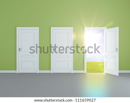 blue room with opened door to field - stock photo
