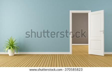 Blue room with white open door - 3D Rendering - stock photo