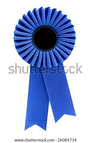 Blue rosette, isolated on white.  Ready for your message. - stock photo