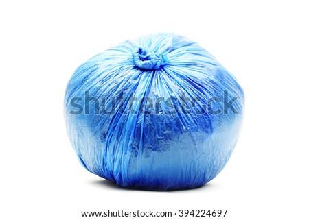 Blue rubbish bag - stock photo