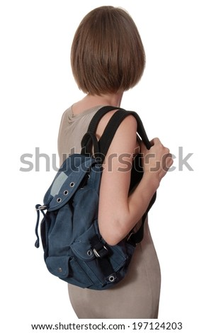 blue rucksack is on woman  - stock photo
