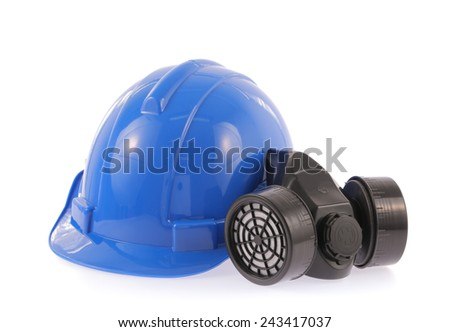 Blue safety helmet and chemical protective mask isolated on white background - stock photo
