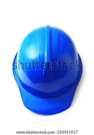 Blue safety helmet on white background, hard hat isolated clipping path. - stock photo
