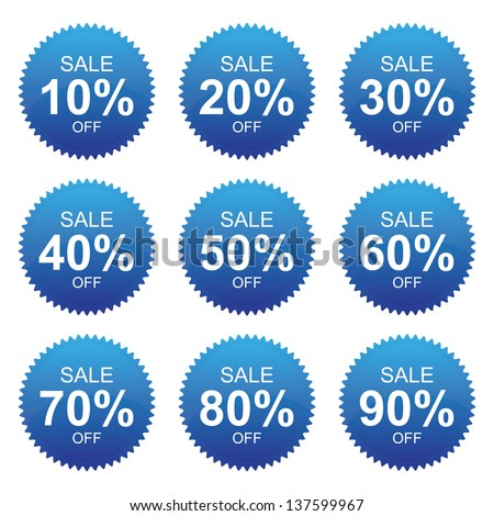 Blue Sale 10 - 90 Percent OFF Discount Label Tag Isolated on White Background - stock photo