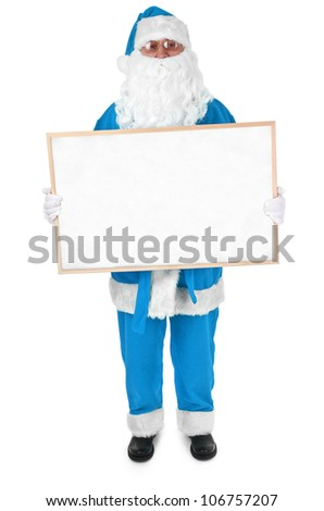 Blue Santa and empty bulletin board on white background - stock photo