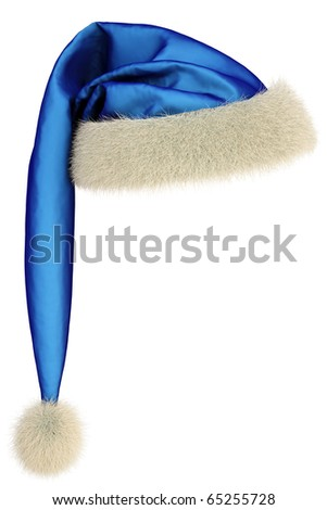 blue Santa Claus hat on white background including clipping path - stock photo