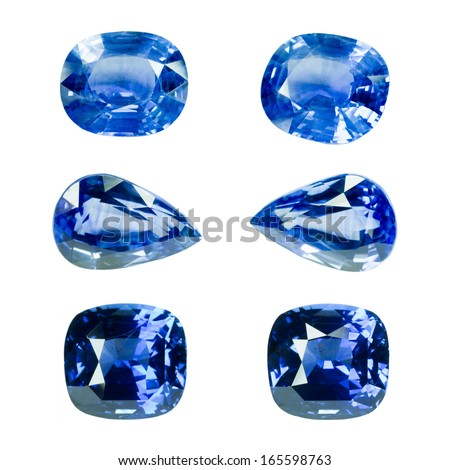 Blue sapphire isolated on white - stock photo