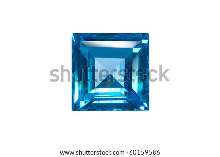 blue sapphire square cut isolated white - stock photo
