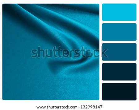 Blue satin color palette with complimentary swatches. - stock photo