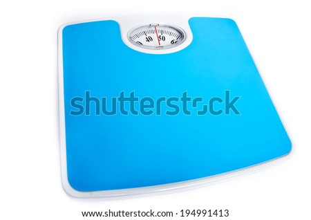 blue scales isolated on a white background - stock photo