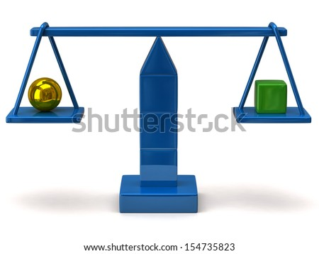 Blue scales with golden sphere an green cube - stock photo