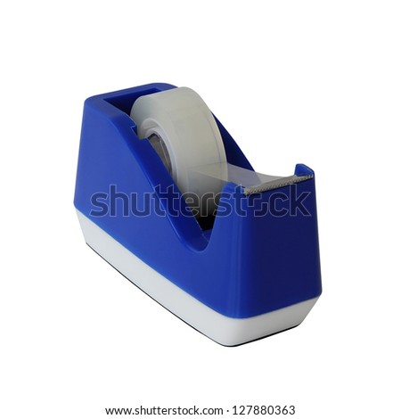 Blue scotch tape holder isolated over white background - stock photo